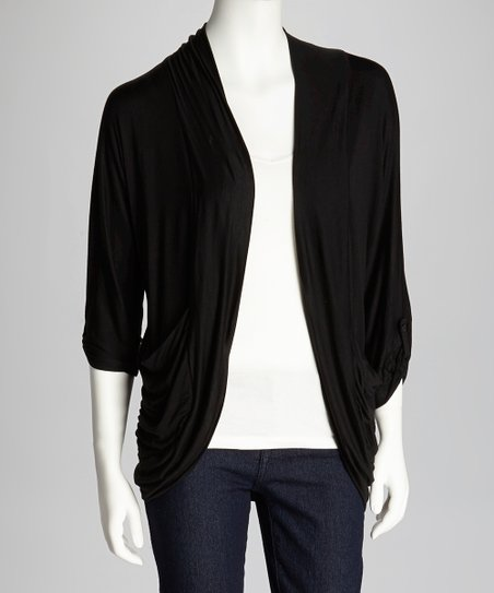Black Draped Open Cardigan