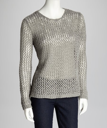 Gray & Silver Loose-Knit Sweater