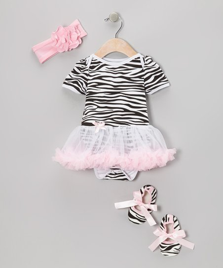 Light Pink Zebra Skirted Bodysuit Set
