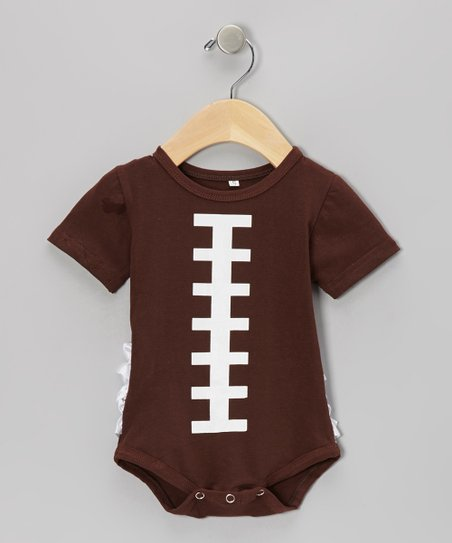 Brown Football Ruffle Bodysuit