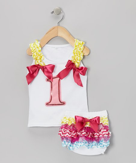White '1' Ribbon Tank & Ruffle Diaper Cover