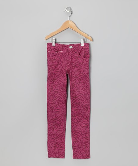 Pomegranate Animal Straight-Leg Jeans - Girls