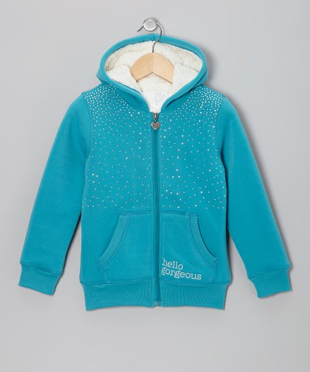 Teal Rhinestone Sherpa Zip-Up Hoodie - Girls