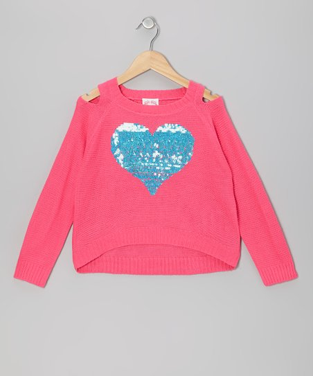 Pink Sequin Heart Cutout Sweater - Girls