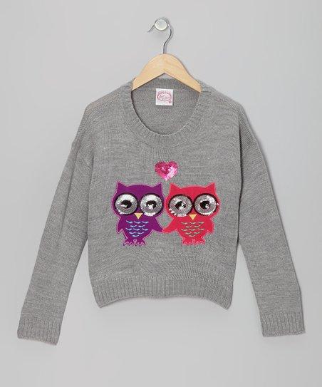 Light Heather Gray Sequin Owl Sweater - Girls