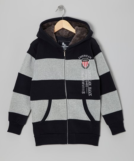 Navy & Light Gray Stripe Zip-Up Hoodie  - Boys