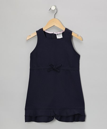Navy Bow Shift Dress - Girls