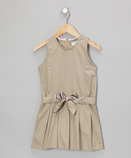 Khaki Belted Shift Dress - Girls