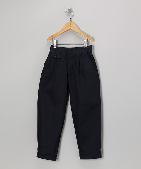 Navy Pleated Straight-Leg Pants - Girls