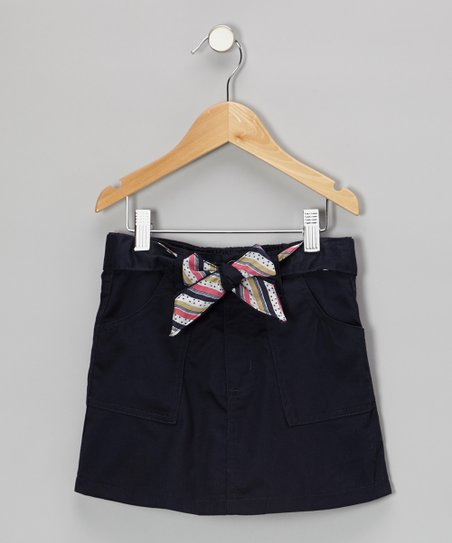 Navy Tie-Belt Skirt - Girls
