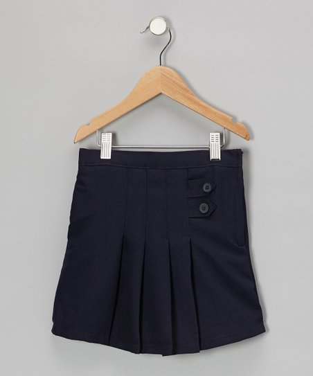 Navy Button-Front Pleated Skirt - Girls