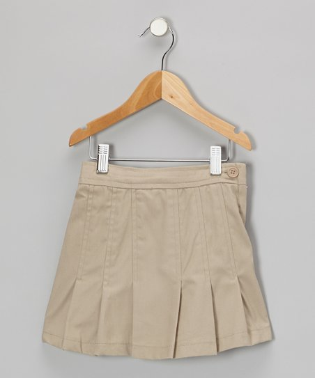 Khaki Pleated A-Line Skirt - Girls