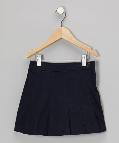 Navy Pleated A-Line Skirt - Girls