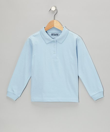 Light Blue Scallop Collar Polo - Girls