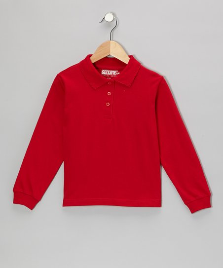 Red Scallop Collar Polo - Girls
