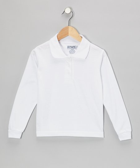 White Scallop Collar Polo - Girls