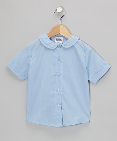 Light Blue Peter Pan Short-Sleeve Button-Up - Girls