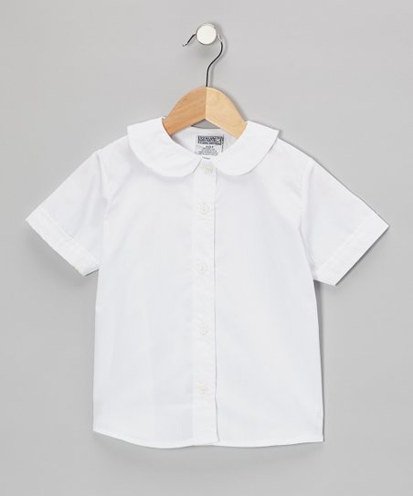 White Peter Pan Short-Sleeve Button-Up - Girls