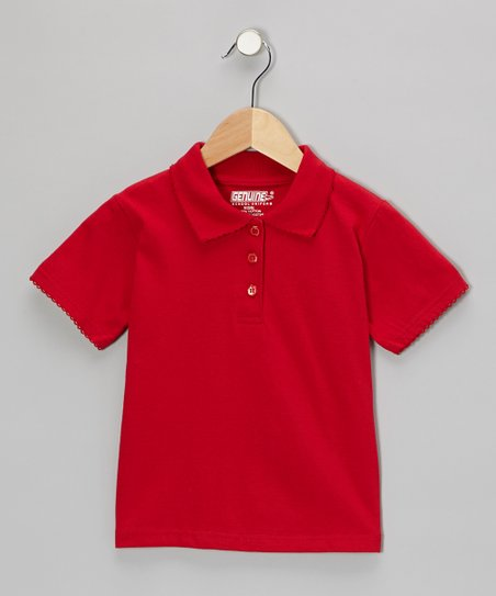 Red Scallop Collar Short-Sleeve Polo - Girls