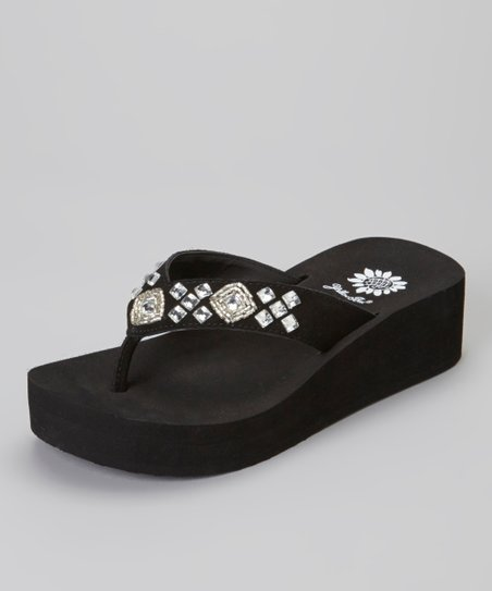 Black Dancine Wedge Sandal