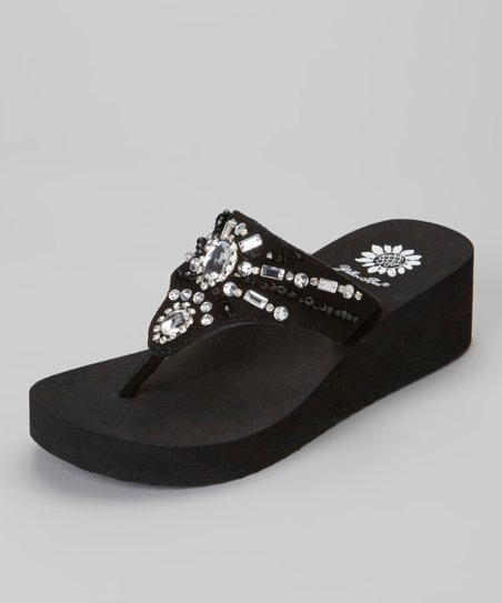 Black Delta Wedge Sandal