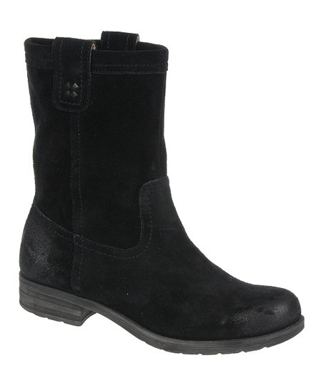 Black Suede Basha Mid Calf Boot