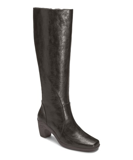 Black Seersawcker Wide Calf Boot