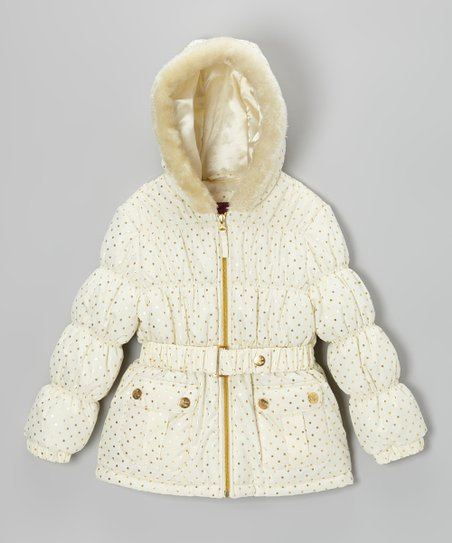 Cream & Gold Polka Dot Puffer Jacket - Toddler & Girls