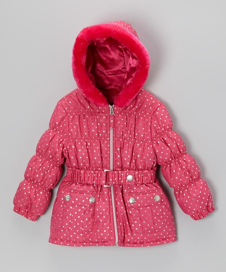 Fuchsia & Silver Polka Dot Puffer Jacket - Girls