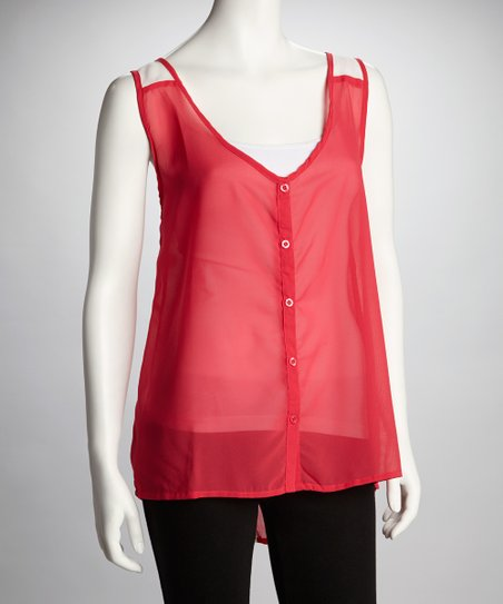 Cherry & White Sheer Color Block Tank - Women