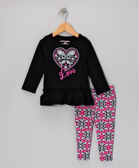 Black 'Love' Tunic & Paisley Leggings - Girls