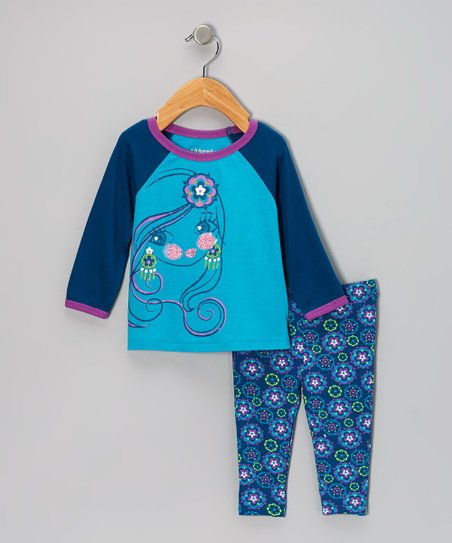 Turquoise Raglan Tee & Floral Leggings - Girls
