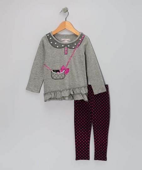 Gray Purse Tunic & Black Leggings - Infant