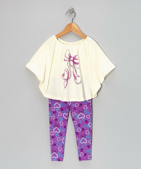 White & Purple Bow Cape-Sleeve Top & Leggings - Girls