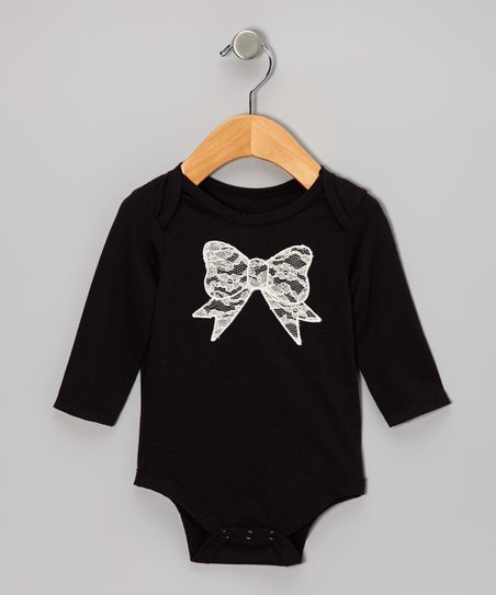 Black Lace Bow Bodysuit - Infant