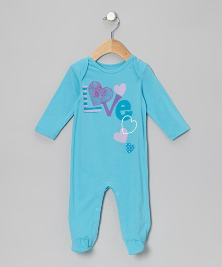 Turquoise 'Love' Footie - Infant
