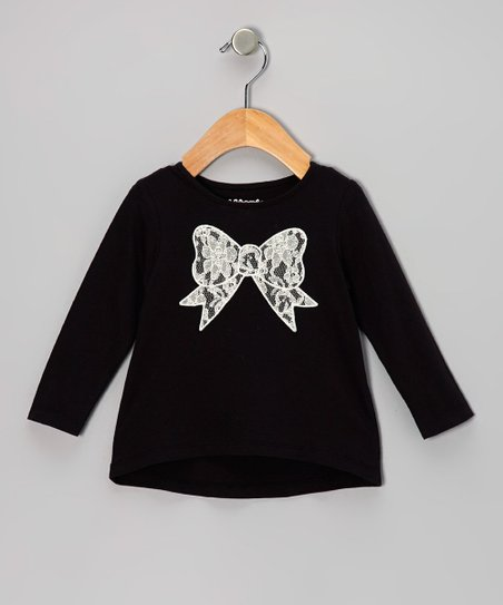 Black Lace Bow Long-Sleeve Tee - Infant & Girls