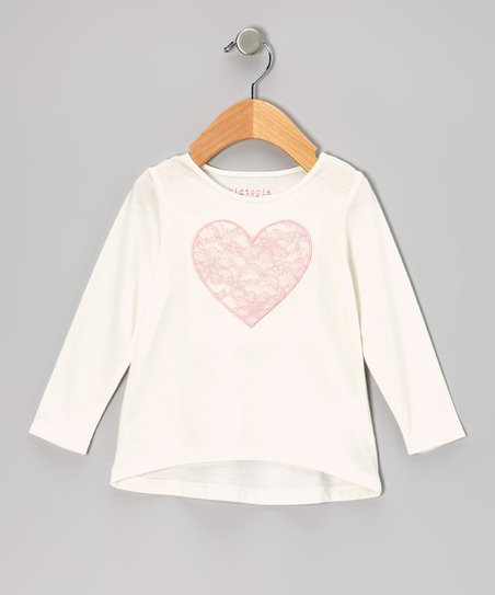 Ivory Lace Heart Long-Sleeve Tee - Infant