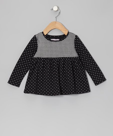 Black Disco Dot Swing Top - Infant, Toddler & Girls