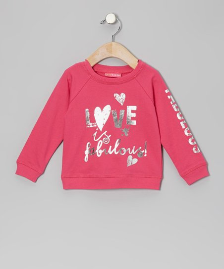 Dark Pink 'Love is Fabulous' Sweatshirt - Infant, Toddler & Girls