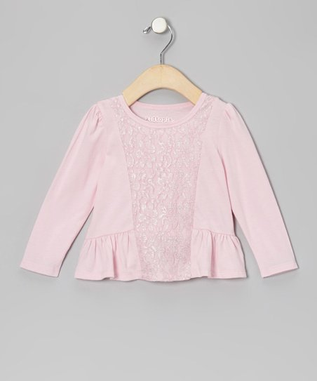 Light Pink Lace-Front Peplum Top - Infant
