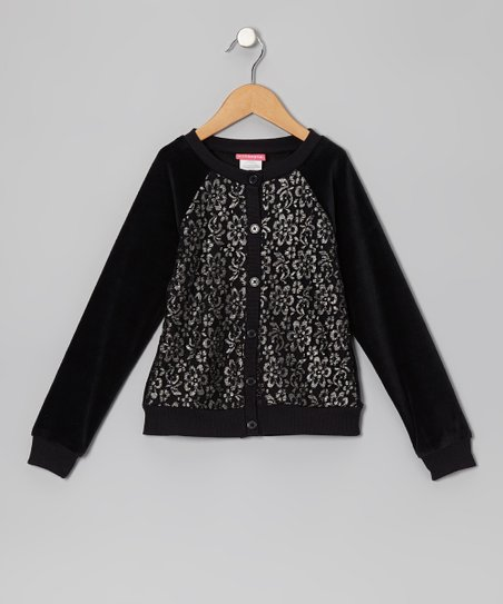 Black Lace-Front Cardigan - Infant & Toddler