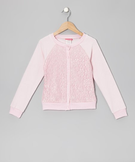 Light Pink Lace-Front Cardigan - Infant & Toddler