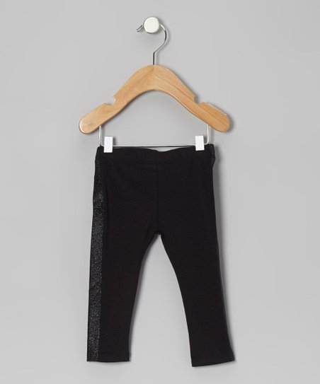 Black Glitter Stripe Leggings - Infant
