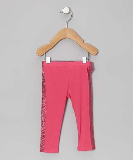 Dark Pink Glitter Stripe Leggings - Infant & Girls