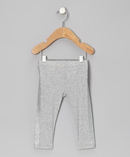 Heather Gray Glitter Stripe Leggings - Infant