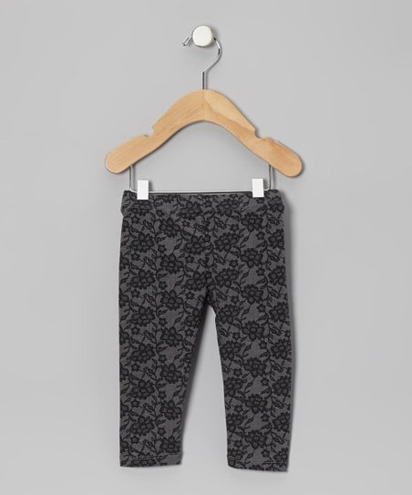 Black Floral Leggings - Infant, Toddler & Girls