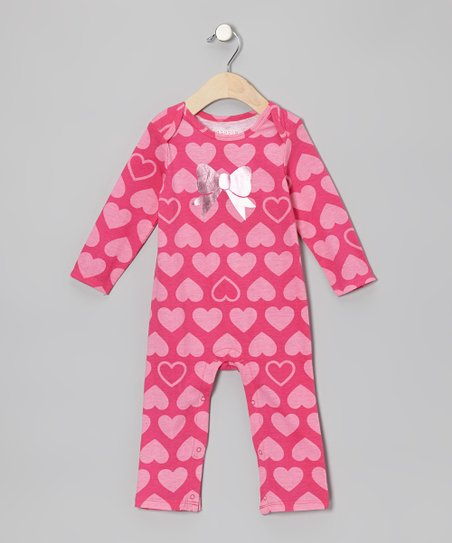 Dark Pink Heart Bow Playsuit - Infant