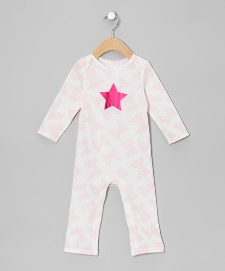 Ivory & Pink Bow Star Playsuit - Infant
