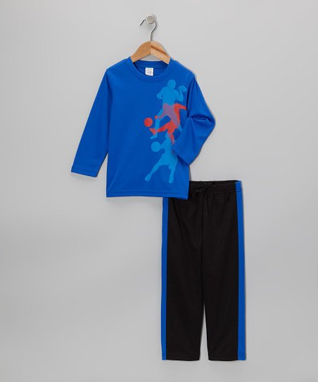 Blue Athletes Tee & Black Track Pants - Toddler